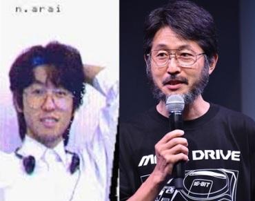 O veterano da Technosoft Naosuke Arai, antes e agora