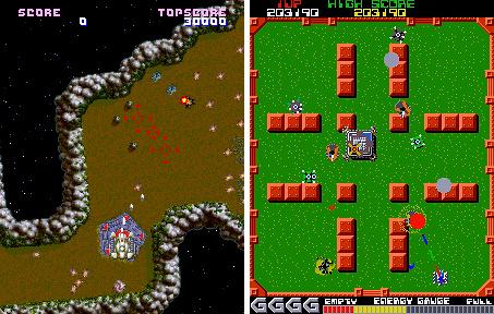 Namco's Assault (E) e Grobda (D), dois grandes influências em Granada